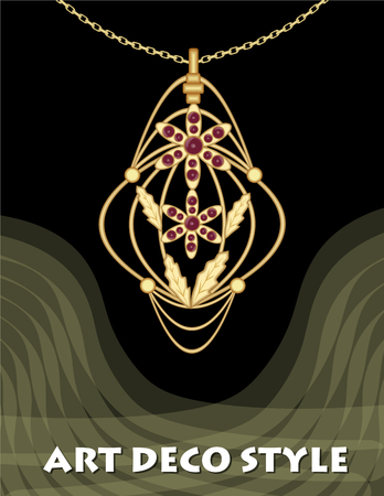 Luxury art decor filigree pendant, jewel with red ruby on golden chain, antique elegant gold jewelry, fashion in Victorian style. Illustration