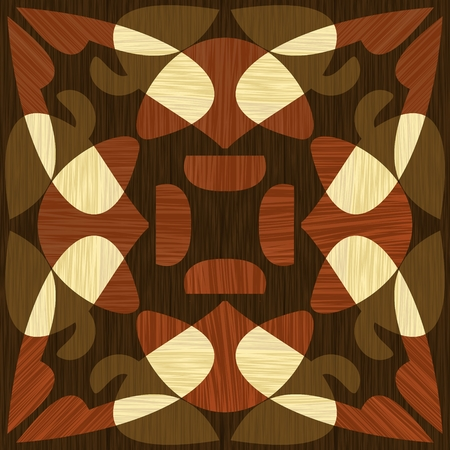 Wooden inlay, light and dark wood patterns. Wooden art decoration template. Veneer textured geometric elements. Ilustracja