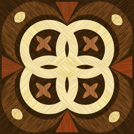 Geometric wooden inlay template, light and dark wood patterns. Wooden art decoration.