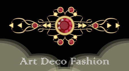 Art deco ruby brooch. Filigree golden jewel in victorian style. Expensive antique jewelry, Vector illustration Иллюстрация