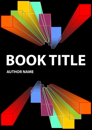 Black book cover with vivid prism shapes in rainbow colors. Spectrum colors on dark background. Vector EPS 10 Illustration
