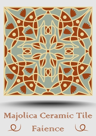 Azulejo ceramic tile in beige, olive green and red terracotta. Vintage ceramic faience. Traditional spanish pottery product with multicolored symmetric ornament. Vector EPS 10
