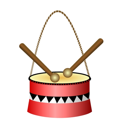 Clip art kleine rode trommel geïsoleerd op een witte achtergrond. Het stuk speelgoed van mooie kinderen voor comfort en welzijn van ouders, Vectoreps 10
