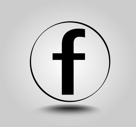 Letter F, round icon on light gray gradient background. Social media icon. Vettoriali