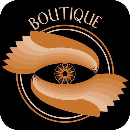 Boutique signboard composed as circle with two orange wings and small flower motif, orange design on black background.