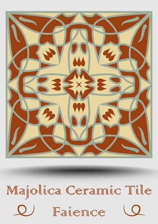 Majolica ceramic tile. Vintage ceramic majolica. Traditional glaze pottery product with multicolored symmetric spanish ornament in beige, olive green and red terracotta.