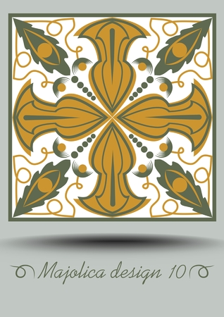 Faience ceramic tile in nostalgic ocher and olive green design with white glaze. Vintage ceramic majolica. Traditional retro spanish pottery product with multicolored geometric patterns.