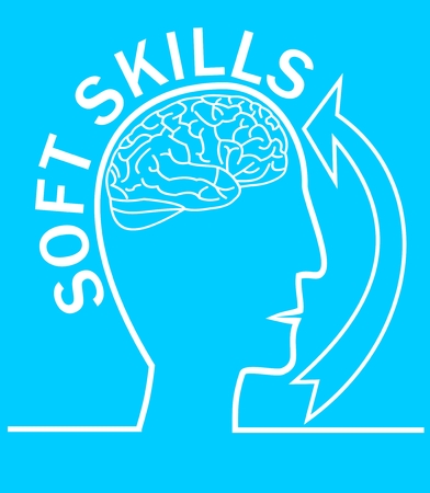 Soft skills presentation template with human head outline silhouette, brain, arrow, on trendy light blue background.