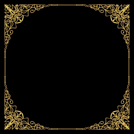 Luxurious golden frame in art deco style, rich decorated corner, square composition, circle copy space. Golden filigree geometric patterns. Embossed lace motifs Иллюстрация
