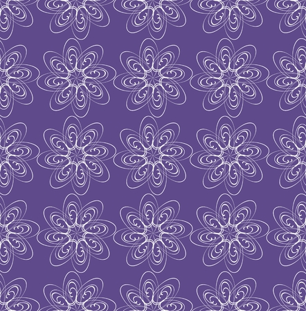 Ultraviolet seamless background with monoline white lace patterns in classic style, trendy purple color combined with white line, elegant satin fabric, textile patterns