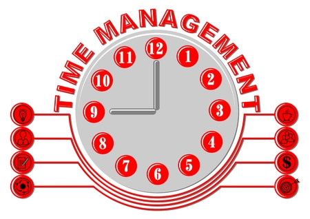 Time management thema with glock face and business icons, gray and red design on white background.  イラスト・ベクター素材