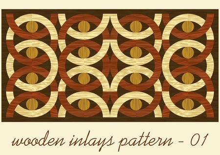 Wood art inlay tile, geometric ornament from dark and light wood in antiquarian style, wooden texture in four color shades Stock Illustratie