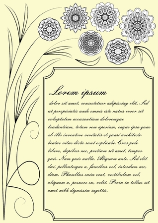 Beige low contrasting template, invitation, announcement, flyer, poster, leaflet with monoline black lace patterns in vintage style, elegant text frame Stock Illustratie