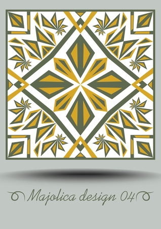 Majolica ceramic tile in nostalgic ocher and olive green design with white glaze. Portuguese classic ceramic faience. Traditional vintage spanish pottery product with multicolored geometric ornament. Иллюстрация