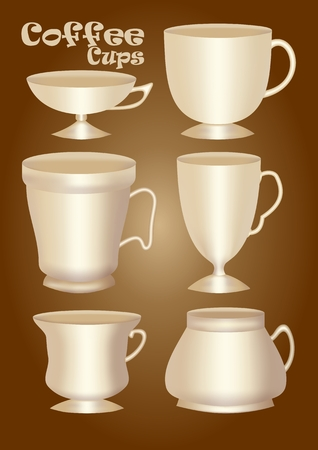 Set of 3d ceramics or porcelain cup without decoration, design element for graphics, classical and vintage shapes.