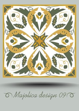 Portuguese azulejo traditional ceramic tile in nostalgic ocher and olive green design with white glaze. Typical ceramic, majolica Portuguese pottery product with multicolored geometric ornament.