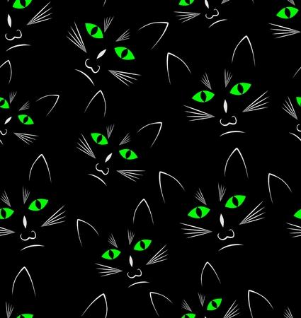 Black background with black cats heads, seamless vector background Vektoros illusztráció