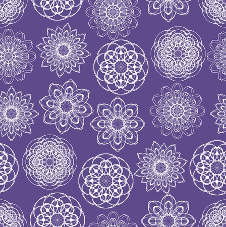 Ultraviolet seamless background with monoline white lace patterns in vintage style, trendy purple color combined with white, elegant fabric, textile patterns
