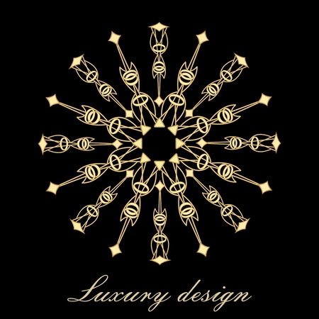 Golden vector element for design template. 3d filigree motif on black background. Ornate decor for invitations, certificate, labels, badges, tags. Golden ornament in antiquarian style. Illustration