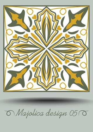 Faience ceramic tile in nostalgic ocher and olive green design with white glaze. Classic ceramic majolica. Traditional vintage Spanish pottery product with multicolored geometric ornament. Иллюстрация