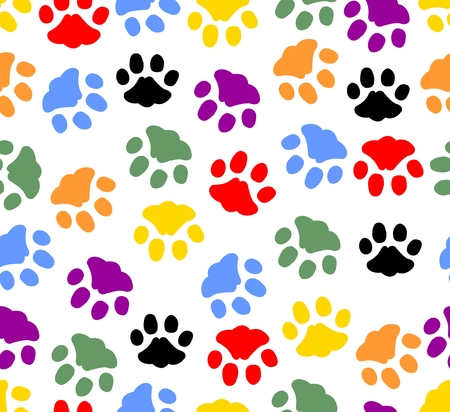 Beautiful background with colored prints of cat paws. Colorful cat footprints on white.