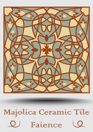 Faience ceramic tile Иллюстрация