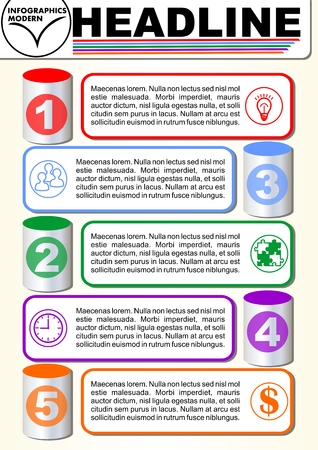 Infographic five step template, process visualization, 3d cyklinder graphic elements, abstract vector with icons and copy space, five multicolored elements available