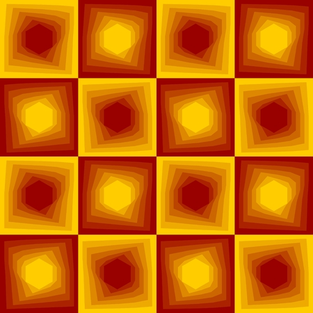 Red and yellow abstract background, checker patterns with blending hexagon texture.