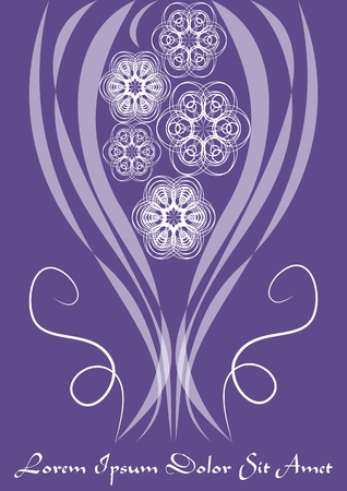 Ultraviolet template with monoline white lace patterns in vintage style, trendy purple color combined with white, elegant invitation, announcement design, Vector EPS 10