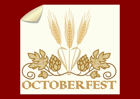 Octoberfest banner, golden hops and barley on old yellow paper, dark red background. Elegant beer symbol. Vector illustration Illusztráció