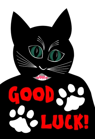 Angry black cat wishing good luck. Cartoon of black tomcat on white background, two white cat paws, Vector illustration