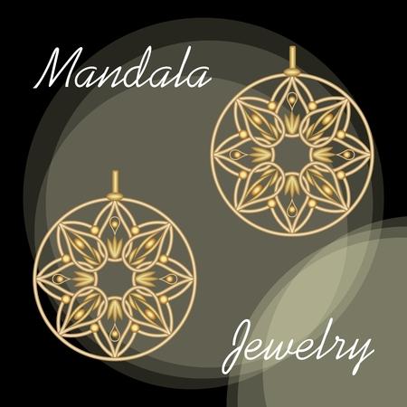 Golden earrings in mandala style, luxurious jewelry in oriental mandala design, filigree jewel 3d, vector eps10 Çizim