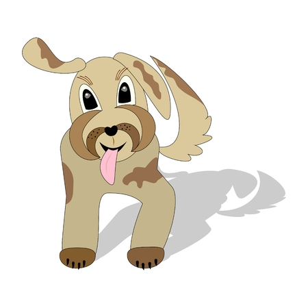 Cute beige mottled dog running with torn tongue, cartoon illustration with shadow isolated on white background Illustration