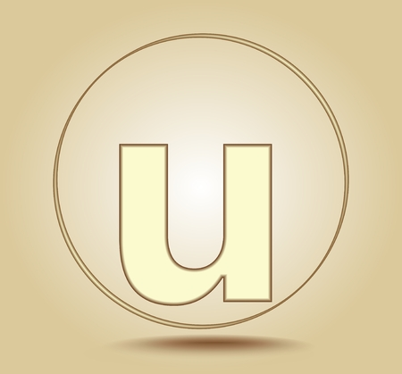 Letter U lowercase, round golden icon on light golden gradient background. Social media icon. Vector illustration