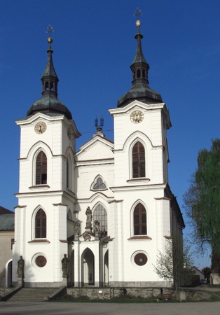 The Church of the Birth of the Virgin Mary in the small town of Zeliv, the facade of a Gothic temple Reklamní fotografie
