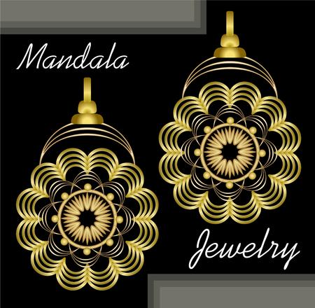 Golden earrings in mandala style, luxurious jewelry in oriental mandala design, filigree jewel 3d