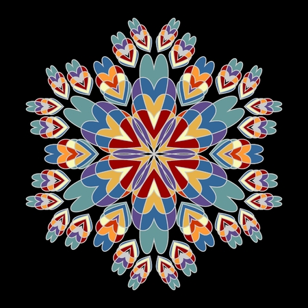 Rosette patterns in nostalgic retro colors. Symmetric vintage rosette on black background, vector design element 向量圖像