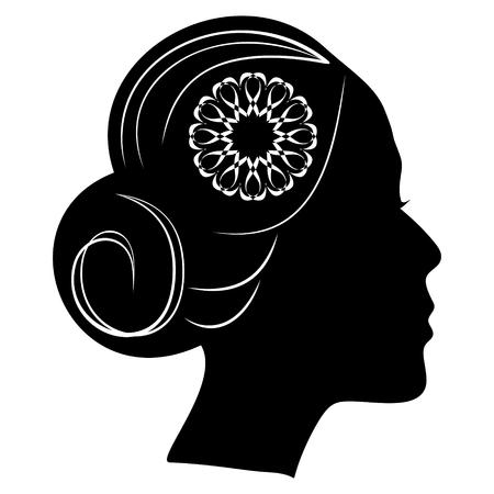 Belle silhouette de profil de dame avec un chignon et une fleur de dentelle dans les cheveux. coiffure vintage classique