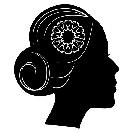 Beautiful profile silhouette of lady with a bun and lace flower in hair. classic vintage hairstyle