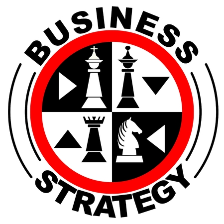 Business strategy banner in with chess pieces in red circle,