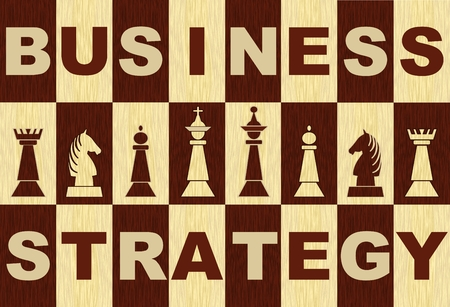 Business strategy banner in wooden inlay design with chess pieces, wooden chessboard with inverse letters and chess pieces Stock Illustratie