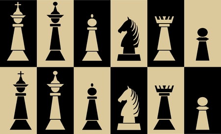 Set of chess pieces on chessboard fields, white piece on black field, black piece on white field