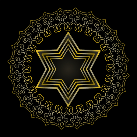 Star of David on black background. Isolated jewish religious motif. Golden David star in circle frame with antiquarian embossed floral ornament.