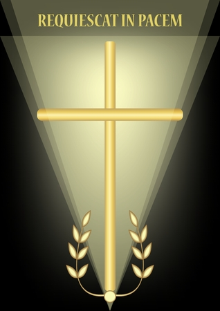 Funeral decoration with simple golden cross and laurel branches, luxurious burial decoration on black background with blurry light, inscription Requiescat in pacem - Rest in peace, vector illustration Stock Illustratie