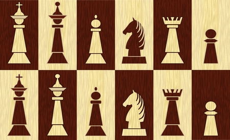 Set of chess pieces on chessboard fields, wooden inlay design, white piece on black field, black piece on white field