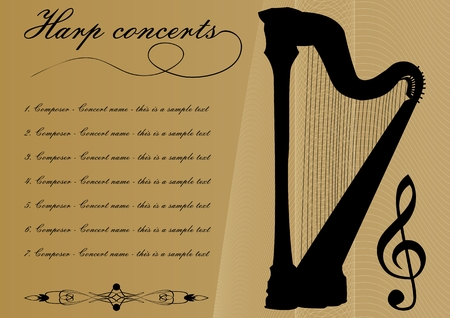 Harp concerts program template with black harp silhouette, sample text, calligraphic ornament and treble clef on gold background with abstract curves