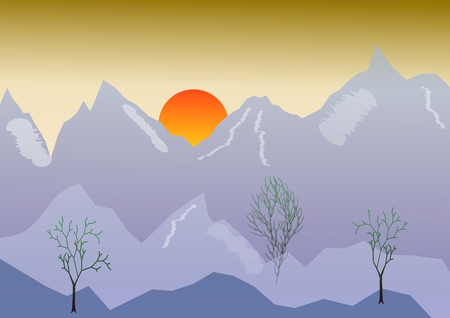 Morning vector landscape with mountain, sunrise, golden sky. Spring high mountain peaks on a morning sky background
