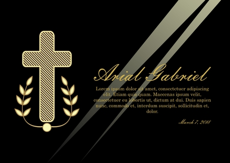 Luxurious obituary with golden crucifix and lawrence branches on black background. Funeral announcement in luxurious design. Christian burial elements, vector template