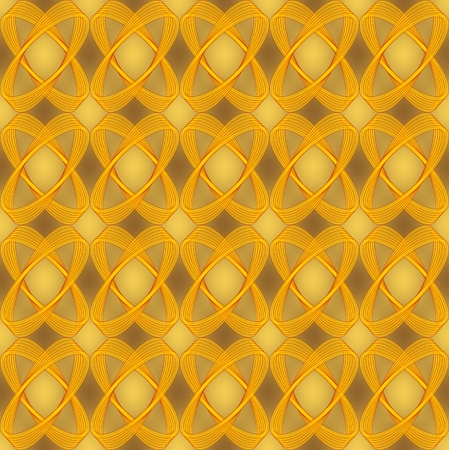 Golden brocade abstract seamless background with semitransparent ovals, luxurious textile design with 3d effect