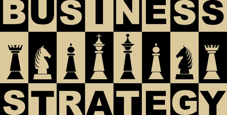 Business strategy banner in black and beige design with chess pieces, chessboard with inverse letters and chess pieces